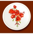 Beautiful bouquet of red poppy on a white plate vector image