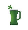 beer glass with a clover vector image