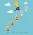 businessman boss up ladder light bulb vector image vector image