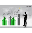 Businessman showing growth chart vector image