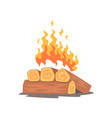 campfire logs burning cartoon vector image
