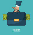 colorful poster of profit man briefcase with money vector image