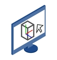 Computer monitor icon in isometric 3d style vector image vector image