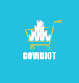 covidiot concept with shopping vector image vector image