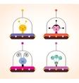 cute aliens in spaceships kids design elements set vector image vector image