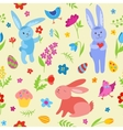 Cute Easter rabbits seamless pattern vector image vector image