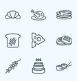 eating icons line style set with croissant shish vector image