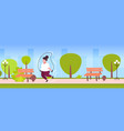 fat obese woman doing exercises with jumping rope vector image