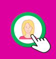 female avatar icon personal profile concept hand vector image vector image