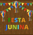 festa junina on wood vector image vector image