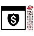 Financial Shield Calendar Page Flat Icon vector image vector image