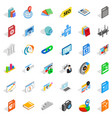 Foreign company icons set isometric style
