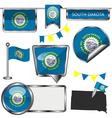Glossy icons with South Dakotan flag vector image