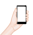 hand holding a smartphone with blank screen vector image vector image