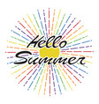 hello summer background lettering design vector image