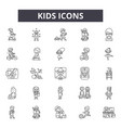 kids line icons signs set linear concept vector image