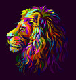 lion abstract multi-colored profile portrait vector image vector image