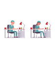 male and female nurse doing paperwork vector image vector image