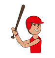 man playing baseball with helmet and bat sport o vector image vector image