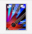 musical poster with a guitar live music vector image vector image