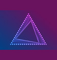 neon led lights abstract triangle frame background vector image vector image