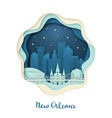 paper art of new orlean origami concept night vector image vector image