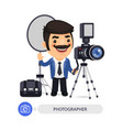 photographer cartoon character with tools vector image vector image