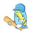 playing baseball candy character cartoon style vector image