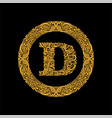 premium elegant capital letter d in a round frame vector image