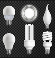 realistic light bulbs set vector image