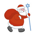 santa claus with a big gift bag vector image vector image