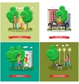 set of cartoon character posters People in vector image