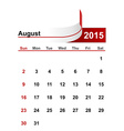 simple calendar 2015 year august month vector image vector image