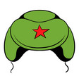 soviet military cap earflaps icon cartoon vector image