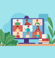 video conferencing computer screen with group vector image vector image