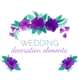 Watercolor purple flowers decor elements vector image vector image