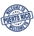welcome to puerto rico blue round vintage stamp vector image vector image