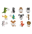 Wild animal zoo with clean plate icons set vector image
