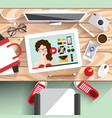 workplace modern girls vector image vector image