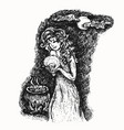 young witch and magic cauldron with poison sketch vector image