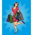 Woman with bags shopping in vector image