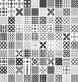 100 seamless set geometric patterns monochrome vector image