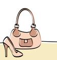Abstract handbag and woman shoe vector image