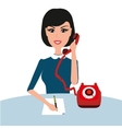 businness woman on table with phone Young vector image