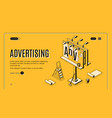 advertising company isometric web banner vector image vector image