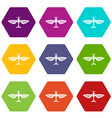 airplane icons set 9 vector image vector image