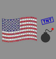 american flag stylized composition bomb and vector image vector image