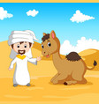 arab boy and a camel in the desert vector image