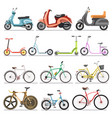 bicycles and kick scooters wheel pedal vehicles vector image vector image