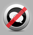 black button white two speech bubbles banned icon vector image